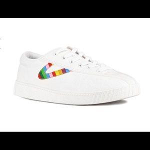 Tretorn Nylite Rainbow Stripe Sneakers 5 EUC